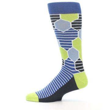 Image of Blue Lime-Green Hexa Stripe Men's Dress Socks (side-2-12)