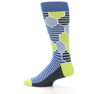 Image of Blue Lime-Green Hexa Stripe Men's Dress Socks (side-2-13)