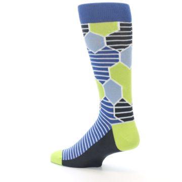 Image of Blue Lime-Green Hexa Stripe Men's Dress Socks (side-2-back-14)