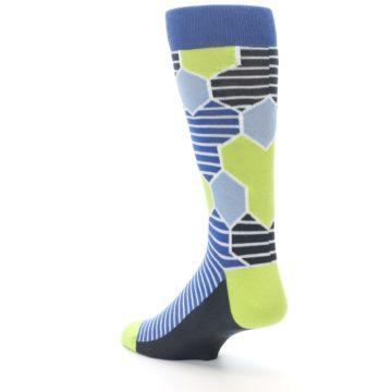 Image of Blue Lime-Green Hexa Stripe Men's Dress Socks (side-2-back-15)