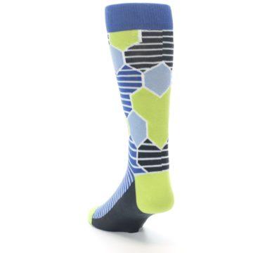 Image of Blue Lime-Green Hexa Stripe Men's Dress Socks (side-2-back-16)