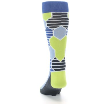 Image of Blue Lime-Green Hexa Stripe Men's Dress Socks (back-17)