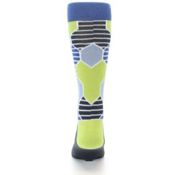 Image of Blue Lime-Green Hexa Stripe Men's Dress Socks (back-18)