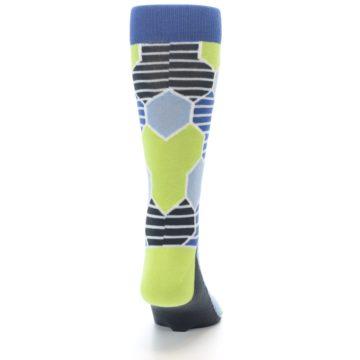 Image of Blue Lime-Green Hexa Stripe Men's Dress Socks (back-19)