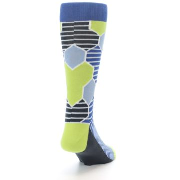 Image of Blue Lime-Green Hexa Stripe Men's Dress Socks (side-1-back-20)