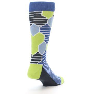 Image of Blue Lime-Green Hexa Stripe Men's Dress Socks (side-1-back-21)