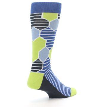 Image of Blue Lime-Green Hexa Stripe Men's Dress Socks (side-1-back-22)