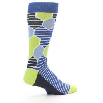 Image of Blue Lime-Green Hexa Stripe Men's Dress Socks (side-1-23)
