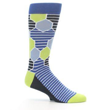 Image of Blue Lime-Green Hexa Stripe Men's Dress Socks (side-1-25)