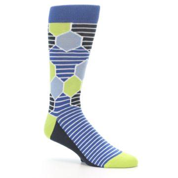 Image of Blue Lime-Green Hexa Stripe Men's Dress Socks (side-1-26)