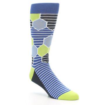 Image of Blue Lime-Green Hexa Stripe Men's Dress Socks (side-1-27)