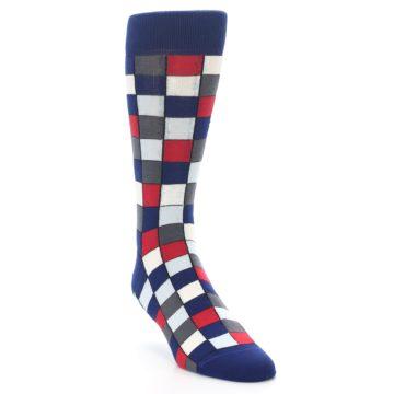 Image of Blue Red Checkered Men's Dress Socks (side-1-front-02)