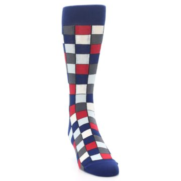 Image of Blue Red Checkered Men's Dress Socks (side-1-front-03)