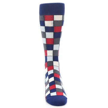 Image of Blue Red Checkered Men's Dress Socks (front-04)