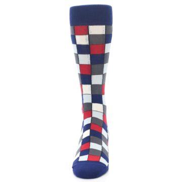 Image of Blue Red Checkered Men's Dress Socks (front-05)