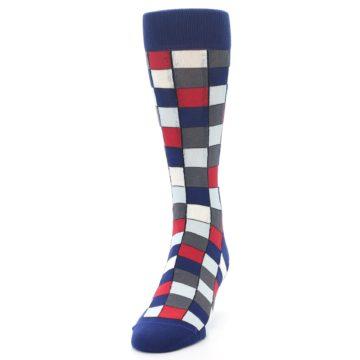 Image of Blue Red Checkered Men's Dress Socks (side-2-front-06)