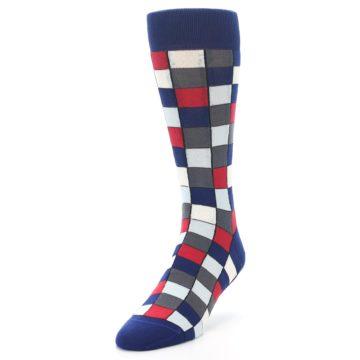 Image of Blue Red Checkered Men's Dress Socks (side-2-front-07)