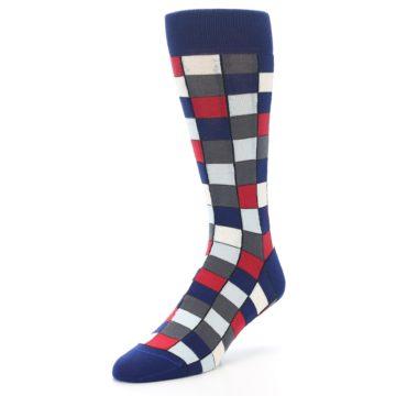 Image of Blue Red Checkered Men's Dress Socks (side-2-front-08)