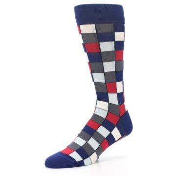 Image of Blue Red Checkered Men's Dress Socks (side-2-09)