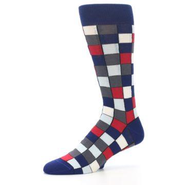 Image of Blue Red Checkered Men's Dress Socks (side-2-10)