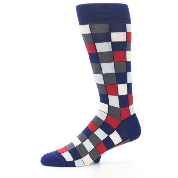 Image of Blue Red Checkered Men's Dress Socks (side-2-11)