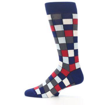 Image of Blue Red Checkered Men's Dress Socks (side-2-12)