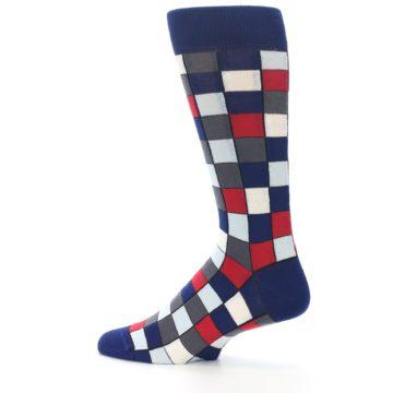Image of Blue Red Checkered Men's Dress Socks (side-2-13)