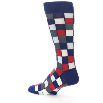 Image of Blue Red Checkered Men's Dress Socks (side-2-back-14)