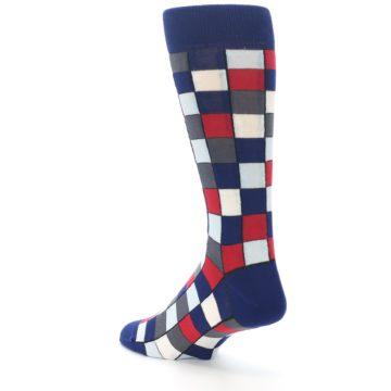 Image of Blue Red Checkered Men's Dress Socks (side-2-back-15)