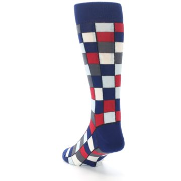 Image of Blue Red Checkered Men's Dress Socks (side-2-back-16)