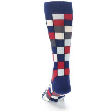 Image of Blue Red Checkered Men's Dress Socks (back-17)