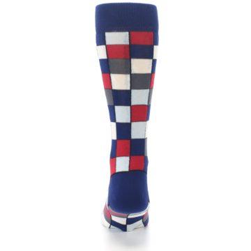 Image of Blue Red Checkered Men's Dress Socks (back-18)