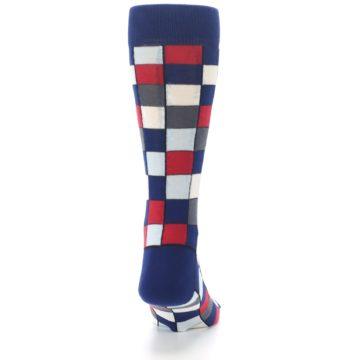 Image of Blue Red Checkered Men's Dress Socks (back-19)