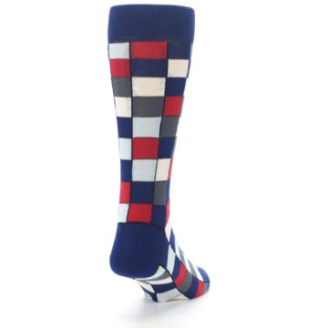 Image of Blue Red Checkered Men's Dress Socks (side-1-back-20)