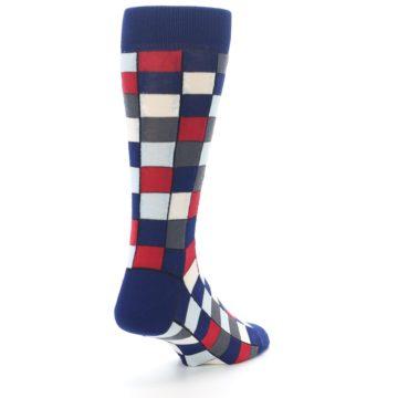 Image of Blue Red Checkered Men's Dress Socks (side-1-back-21)
