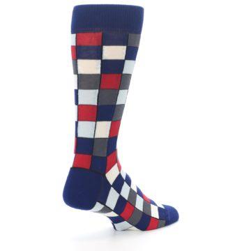 Image of Blue Red Checkered Men's Dress Socks (side-1-back-22)