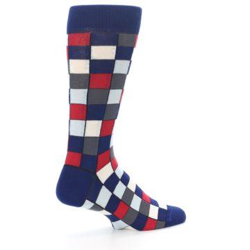 Image of Blue Red Checkered Men's Dress Socks (side-1-23)