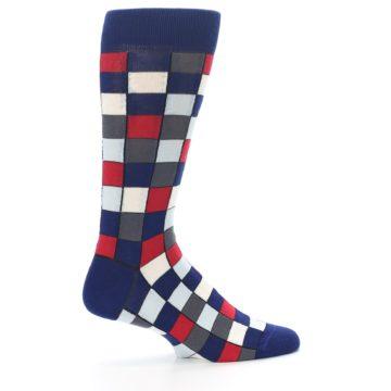 Image of Blue Red Checkered Men's Dress Socks (side-1-24)