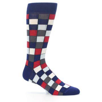 Image of Blue Red Checkered Men's Dress Socks (side-1-25)