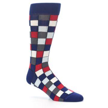 Image of Blue Red Checkered Men's Dress Socks (side-1-26)
