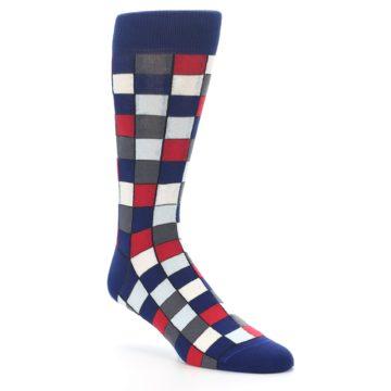 Image of Blue Red Checkered Men's Dress Socks (side-1-27)