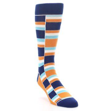 Image of Navy Orange Aqua Stacked Men's Dress Socks (side-1-front-02)