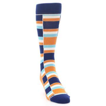 Image of Navy Orange Aqua Stacked Men's Dress Socks (side-1-front-03)