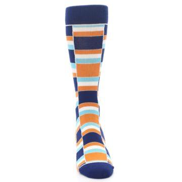 Image of Navy Orange Aqua Stacked Men's Dress Socks (front-04)