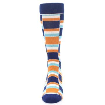 Image of Navy Orange Aqua Stacked Men's Dress Socks (front-05)