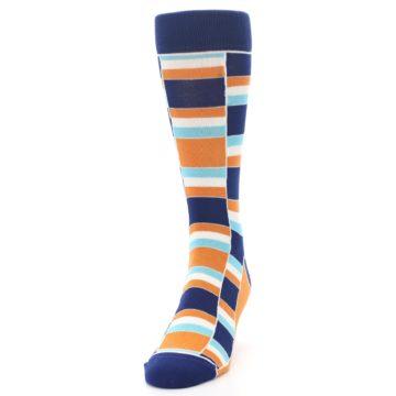 Image of Navy Orange Aqua Stacked Men's Dress Socks (side-2-front-06)