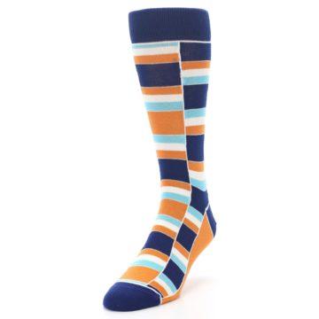 Image of Navy Orange Aqua Stacked Men's Dress Socks (side-2-front-07)