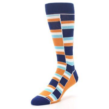 Image of Navy Orange Aqua Stacked Men's Dress Socks (side-2-front-08)