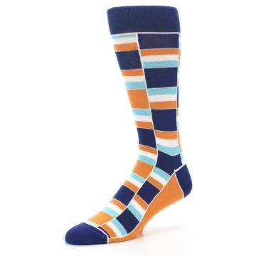 Image of Navy Orange Aqua Stacked Men's Dress Socks (side-2-09)