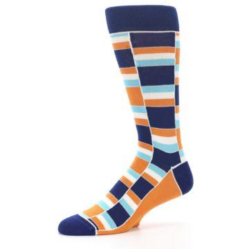 Image of Navy Orange Aqua Stacked Men's Dress Socks (side-2-10)